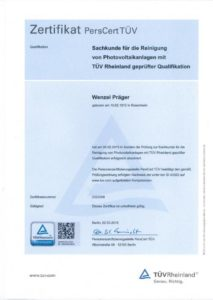 TÜV Sachkundezertifikat Reinigung Photovoltaik