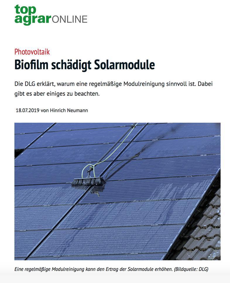 Biofilm schadet Solarmodulen